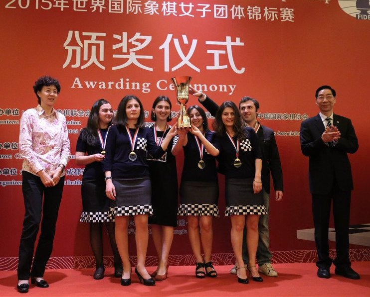 A happy unit: The Georgian women! (Pic Source: chengdu2015.fide.com)