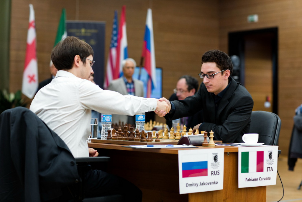 Caruana lost his first game of the tournament - against Jakovenko. (Pic Source: khantymansiysk2015.fide.com)