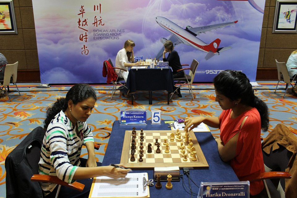 Winning Round 7 was crucial for Harika (Courtesy: chengdu2016.fide.com)