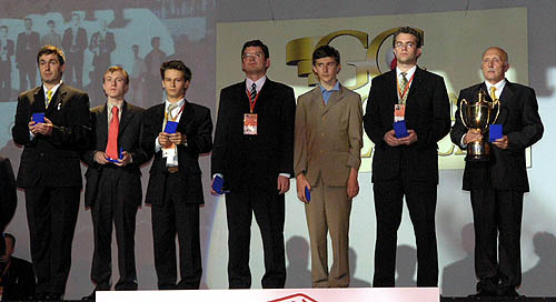 The victorious Ukrainian team at the Calvia Olympiad, 2004. Eljanov scored a respectable 6 points from his 8 games.